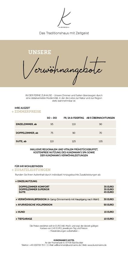 kunzmanns hotel price list